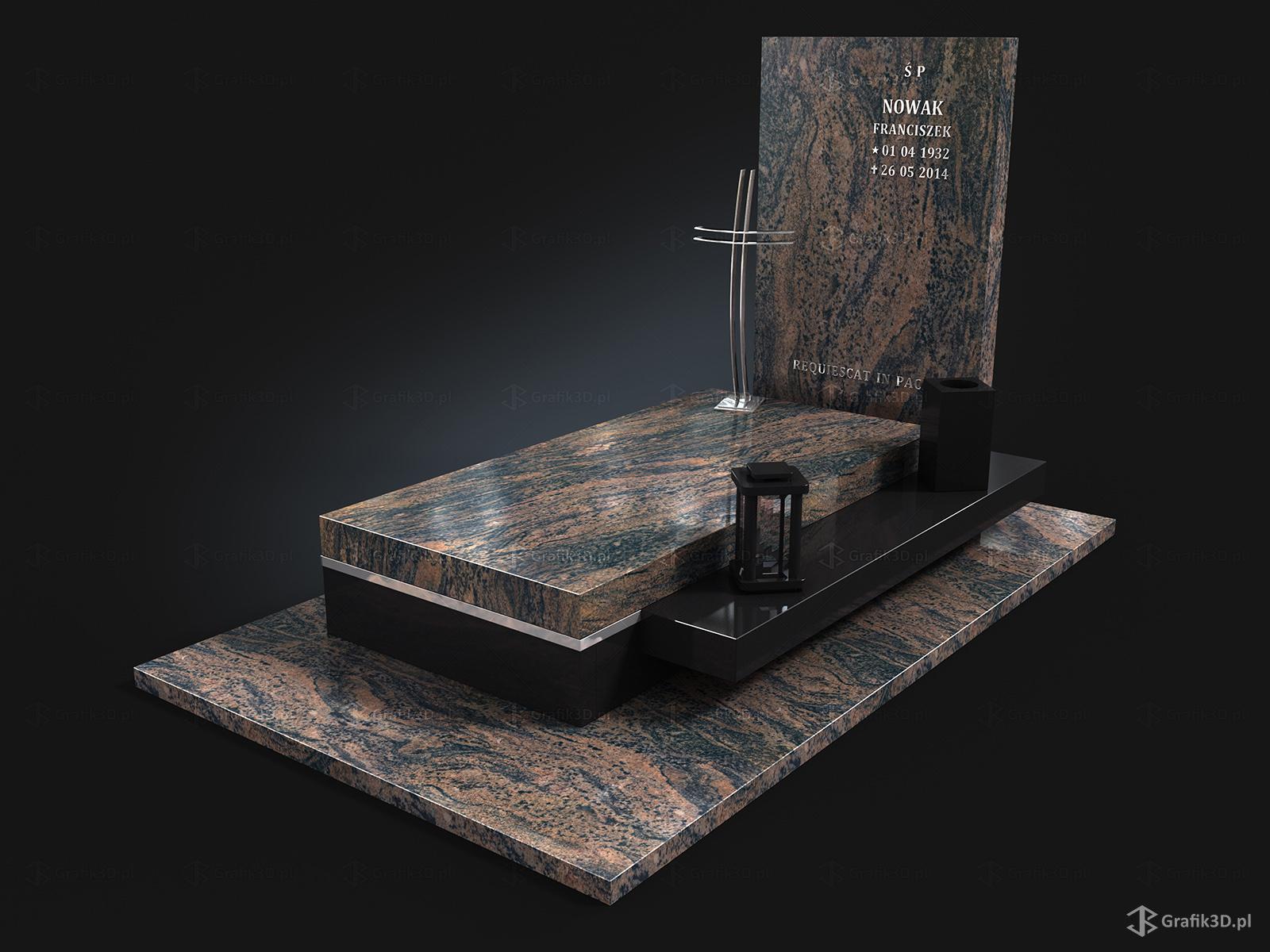 Grafik 3d Trójwymiarowy projekt nagrobka z kamienia