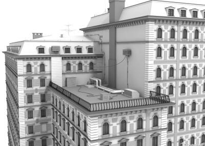 Model 3d budynku kamienicy