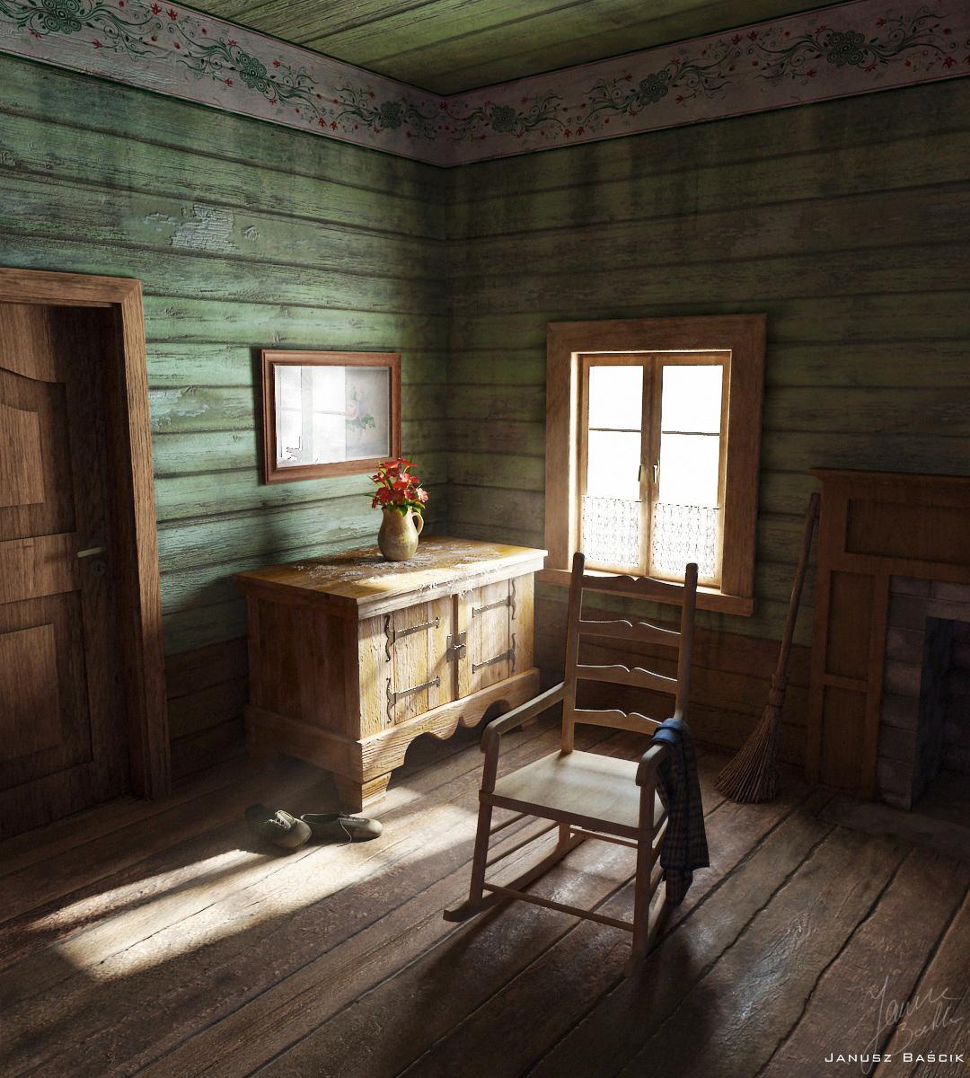 Nastrojowa wizualizacja wnętrza chaty góralskiej