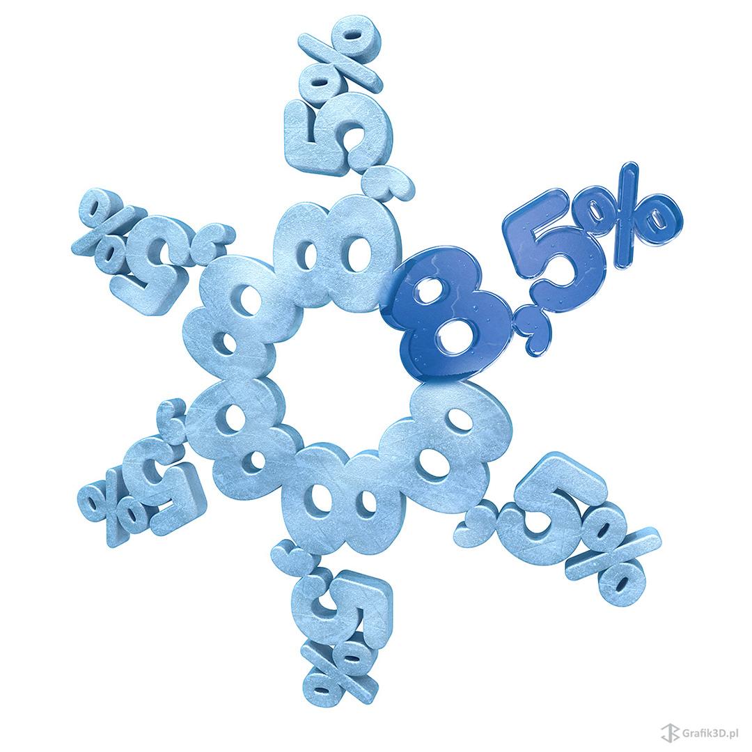 Obraz 3d do reklamy banku db kredyt płatek śniegu