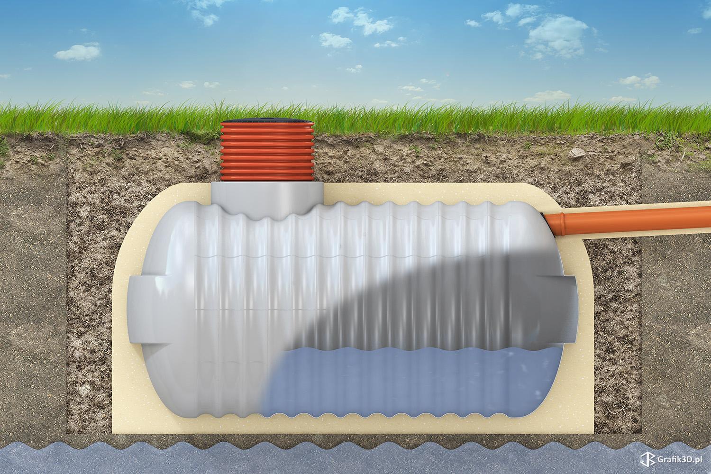 Obraz 3d przekrój sposobu montażu zbiornika na szambo lub desz