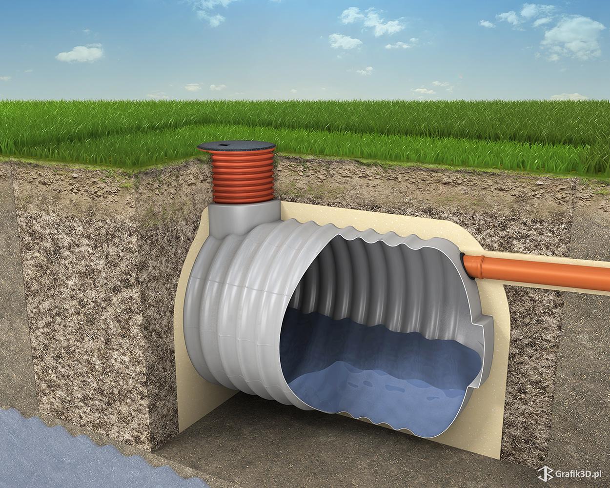 Prezentacja 3d montażu obiektu zbiornika przekrój w ziemi