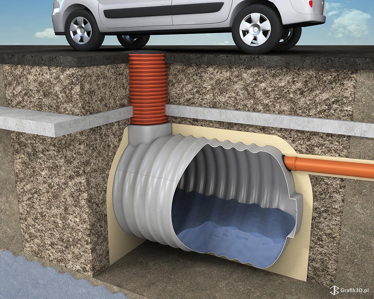 Przekrój 3d obraz montażu zbiornika na szambo pod parkingiem
