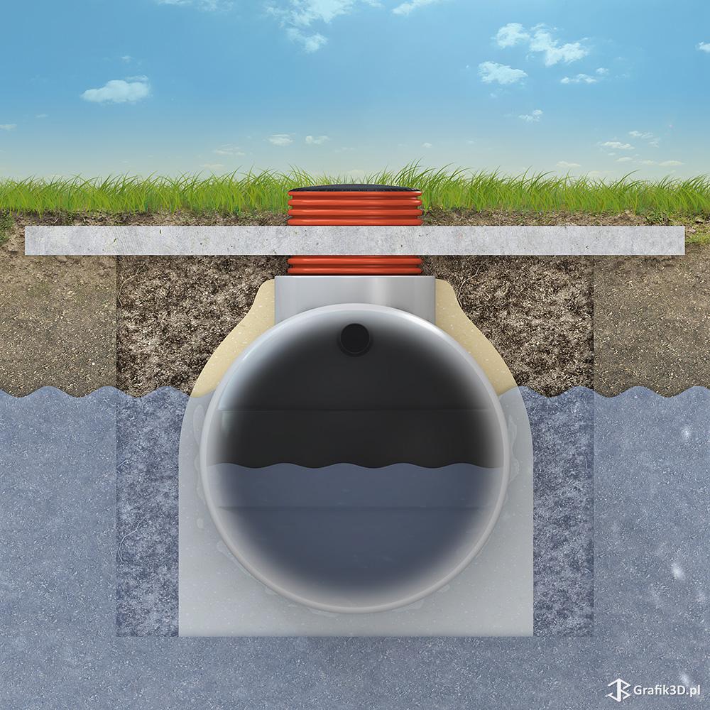 Rysunek 3d montaż zbiornika w ziemi przekrój