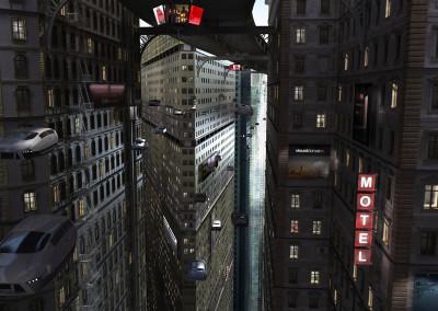 Wizualizacja 3d futurystyczne miasto