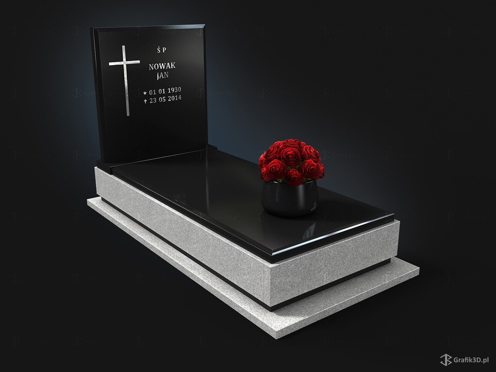 Wizualizacja 3d model pomnika nagrobka