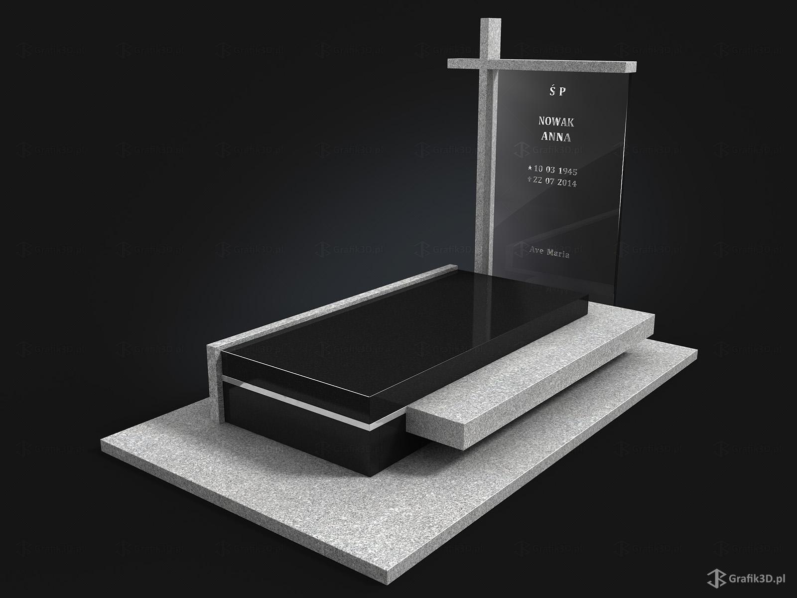 Grafik 3d Wizualizacja 3d nowoczesnego pomnika nagrobka