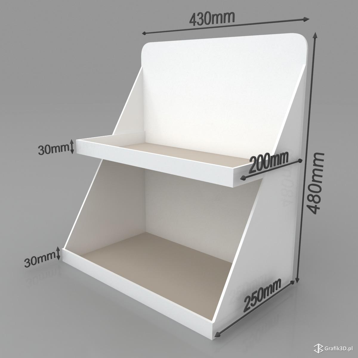 Wizualizacja standu półki na produkty wymiary