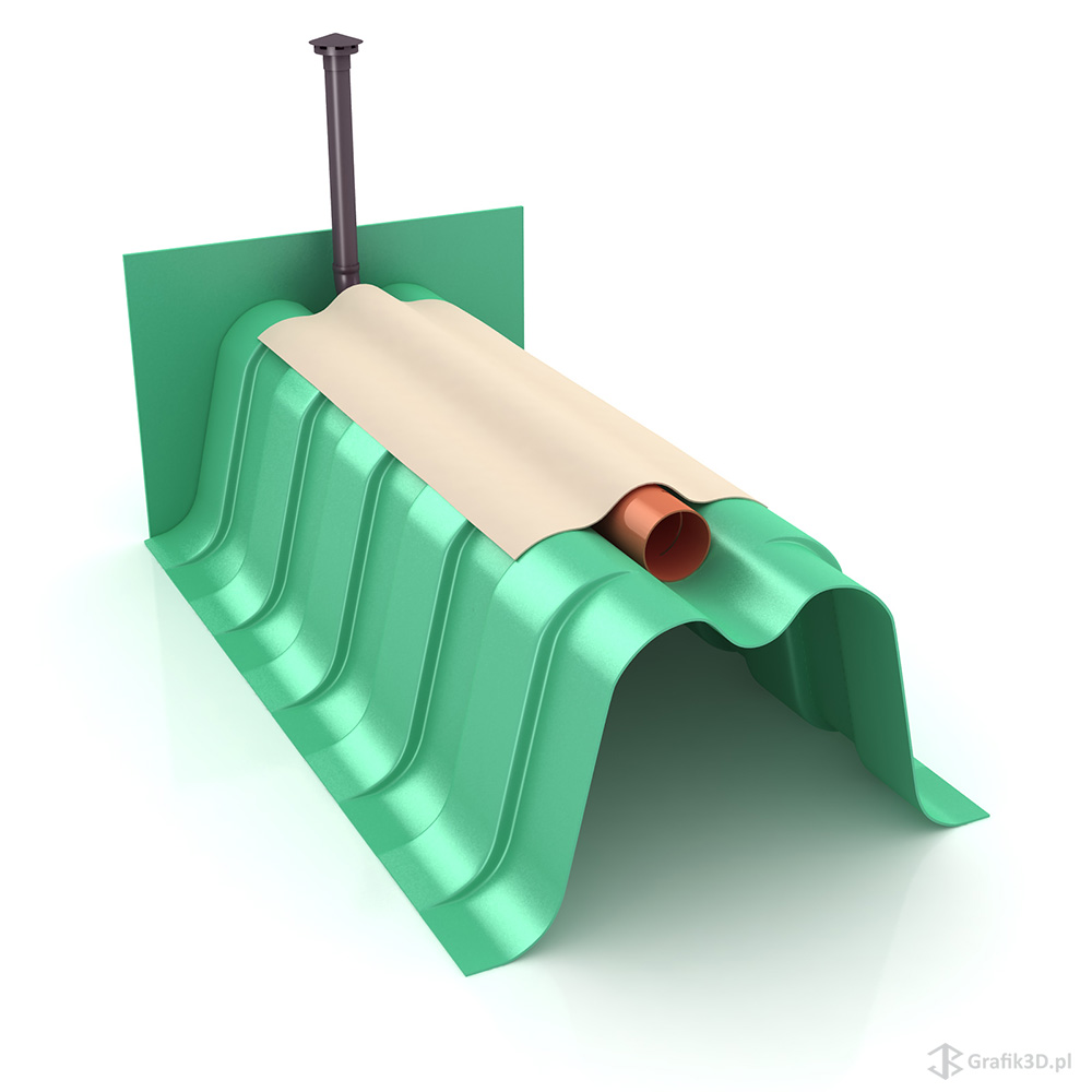 Wizualizacja 3d tunelu rozsączającego przydomowej oczyszczalni