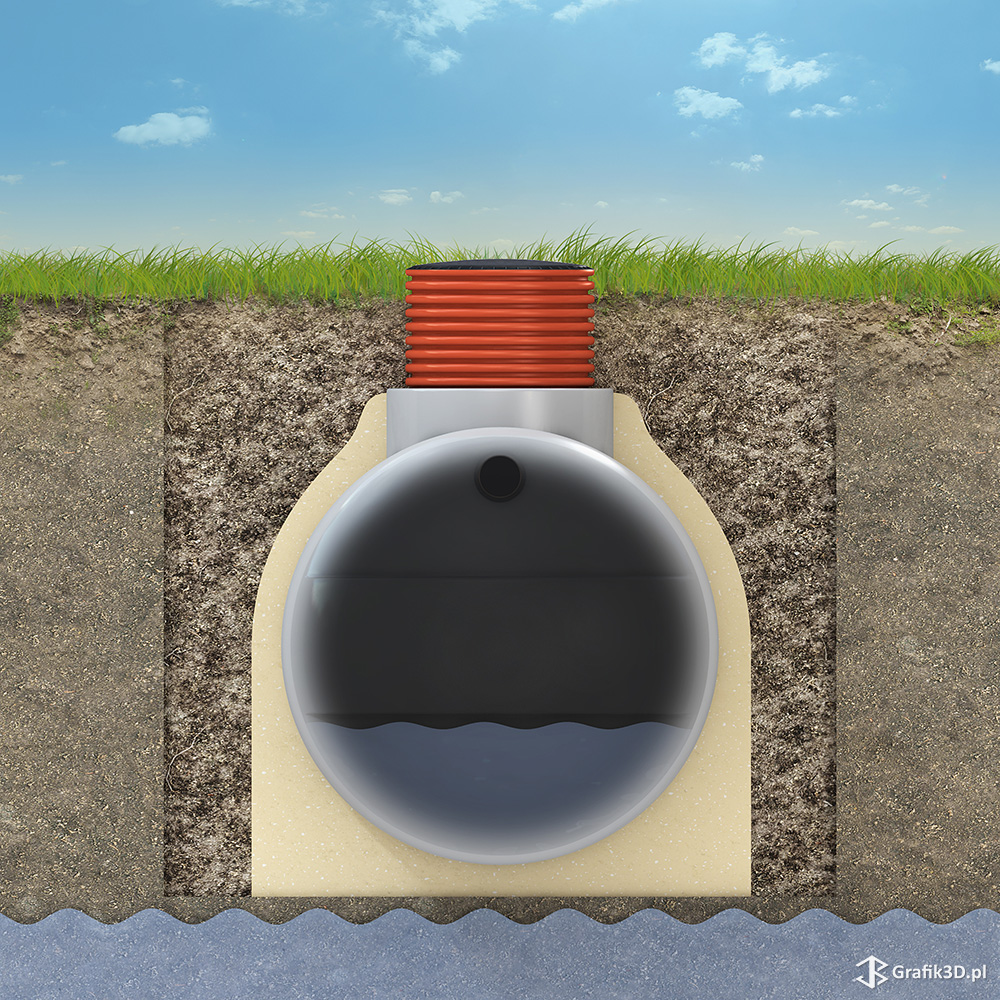 Wizualizacja grafika 3d sposobu montażu zbiornika na szambo