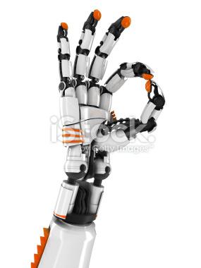 Ręka robota znak OK - Stock Image