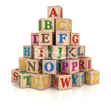 Alphabet blocks stack - Stock Image