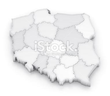 Mapa Polski z województwami 3D - Stock Image