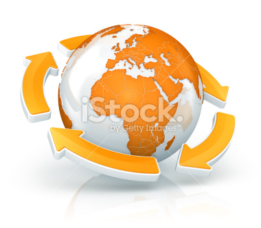 Globe with circle of arrows - Stock Image