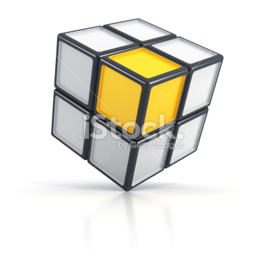 Concept 3d cube on white background - Stock Image