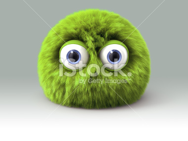 Furry green cartoon monster character - Stock Image