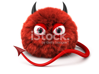 Furry devil cartoon Diabeł 3d - Stock Image