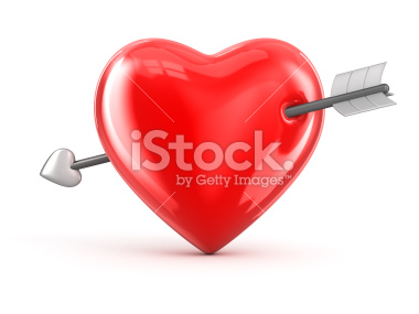 Serce przebite strzałą 3d - Stock Image