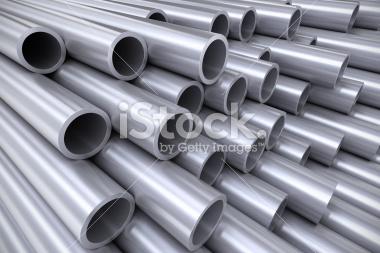 Stos stalowych rur 3d - Stock Image