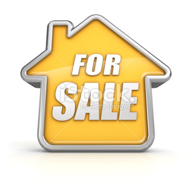 House for sale isolated on white - Stock Image