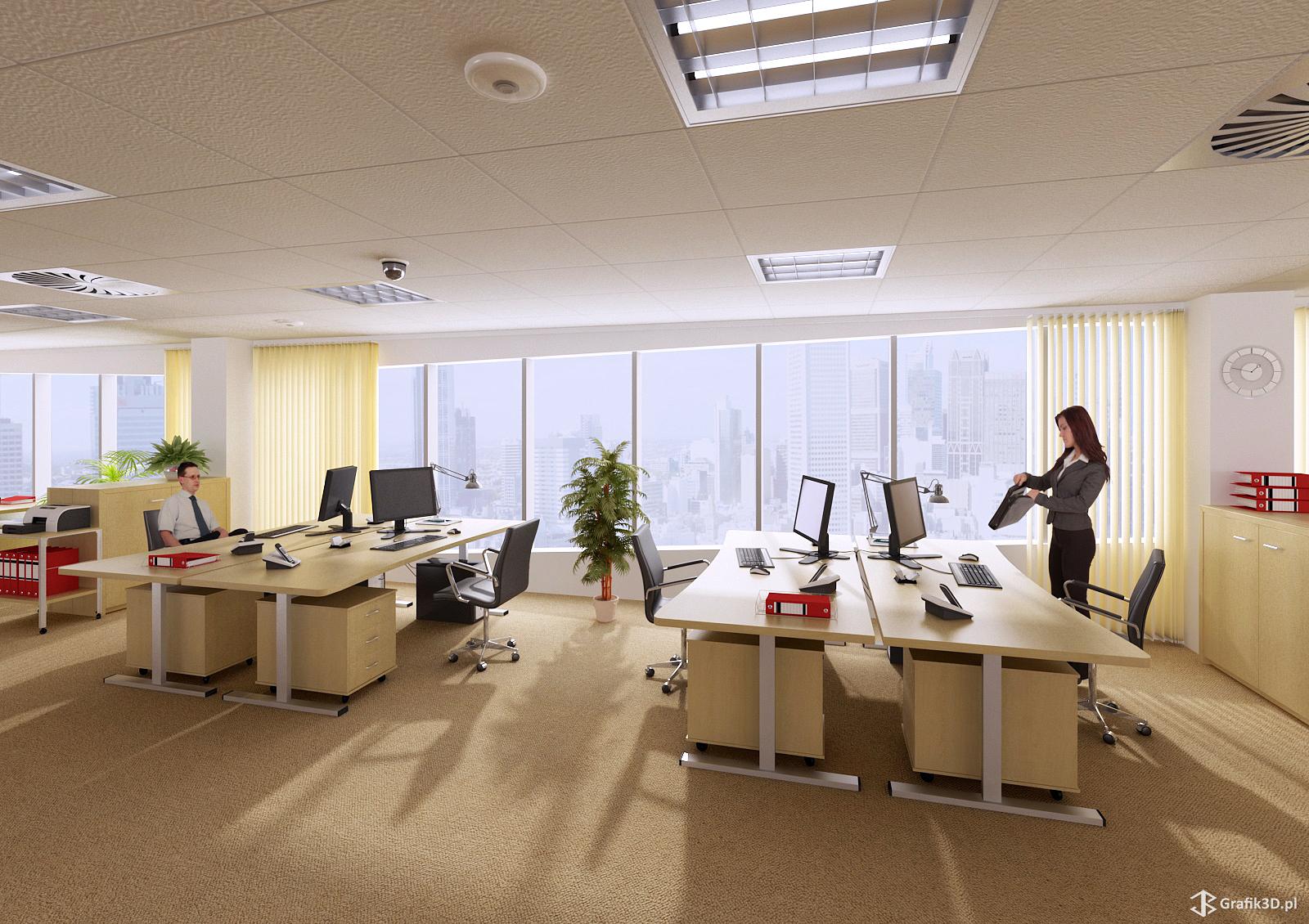 Ilustracja 3d biura