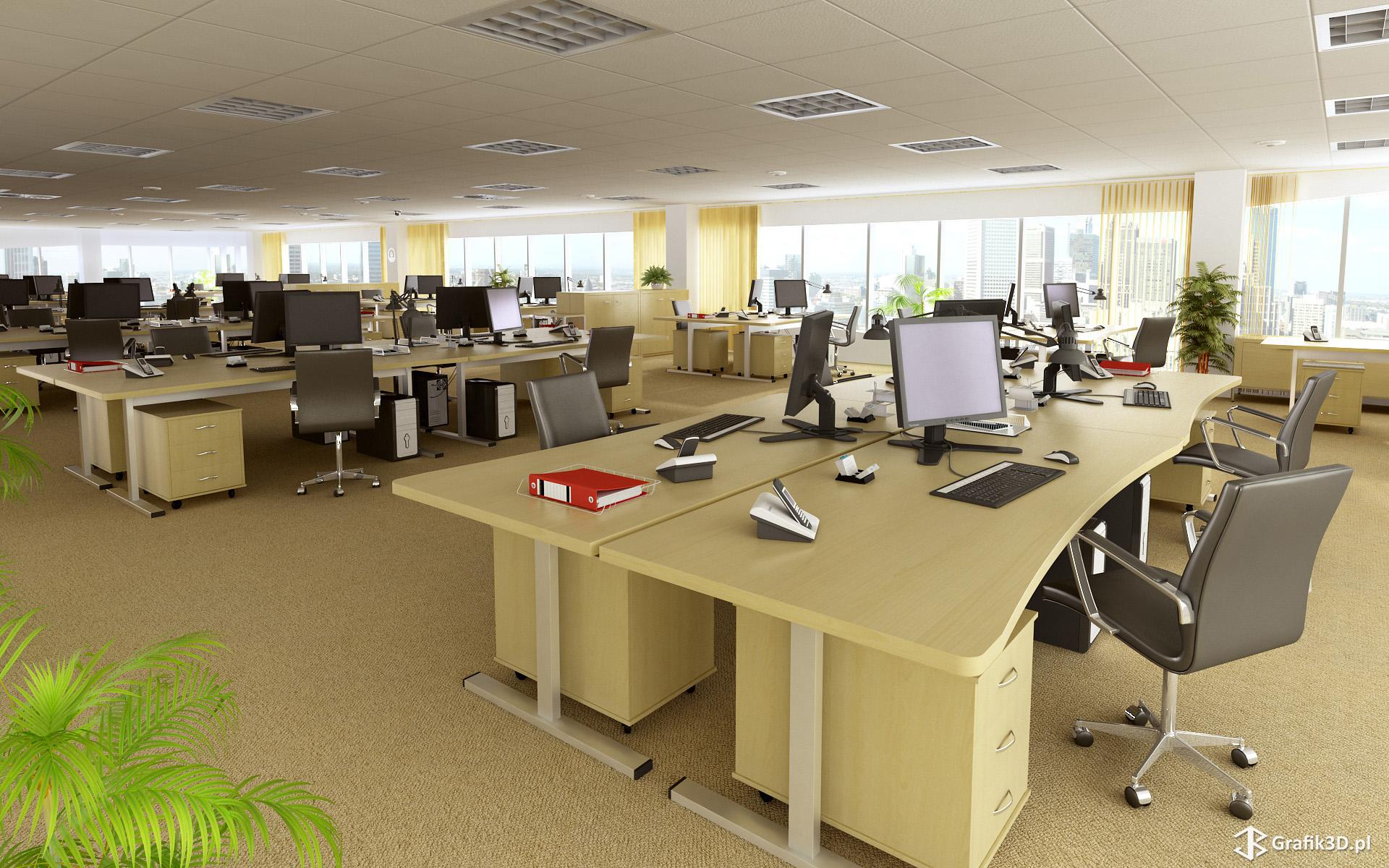 Wizualizacja 3d wnętrza biura interior
