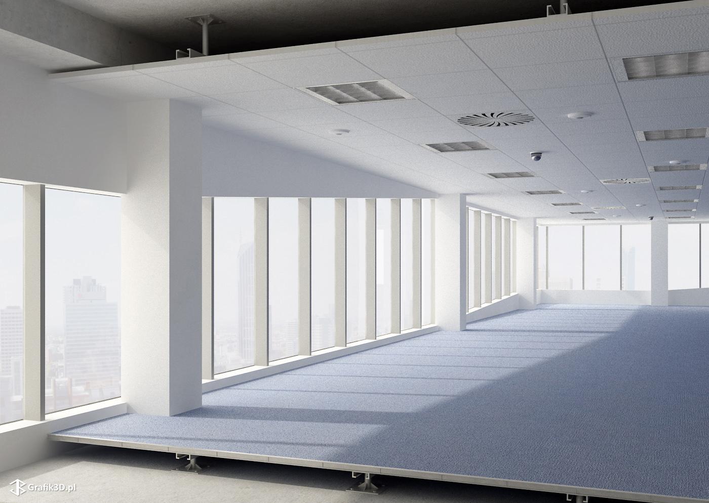 Wizualizacja biura przekrój podłogi i sufitu